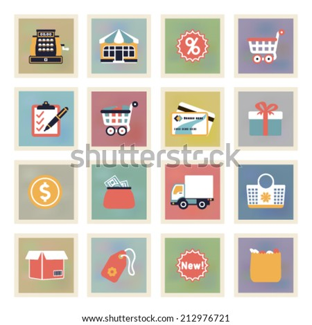 Shopping modern color icons. - stock vector