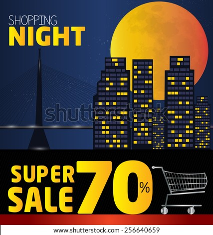 Shopping night , discount of 70 percent. Vector City at night. vector banner discount of 70  percent. Vector Belgrade at night. EPS 10 - stock vector