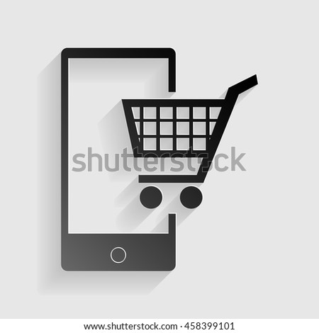 Shopping on smart phone sign. Black paper with shadow on gray background. - stock vector