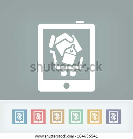 Shopping on tablet icon - stock vector