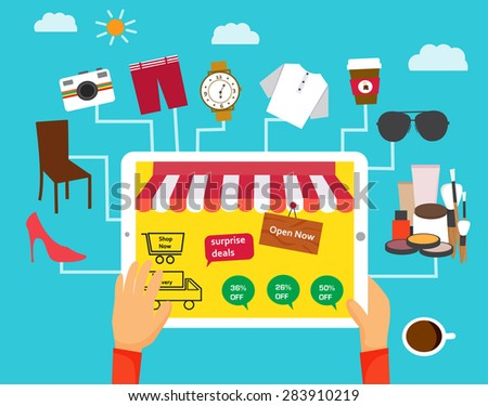 Shopping online concept with hands holding tablet and products sold online icons, illustration, vector  - stock vector