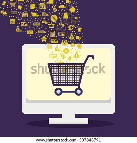 Shopping online digital design, vector illustration eps 10 - stock vector
