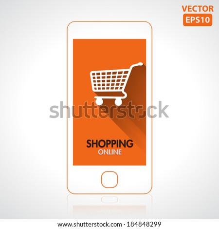 Shopping online icon with smartphone vector - stock vector