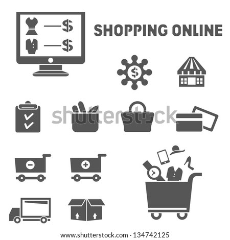 shopping online icons set - stock vector