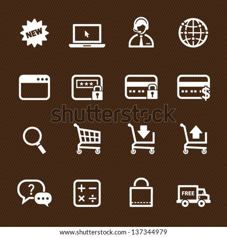Shopping Online Icons with Brown Background - stock vector