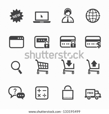 Shopping Online Icons with White Background - stock vector