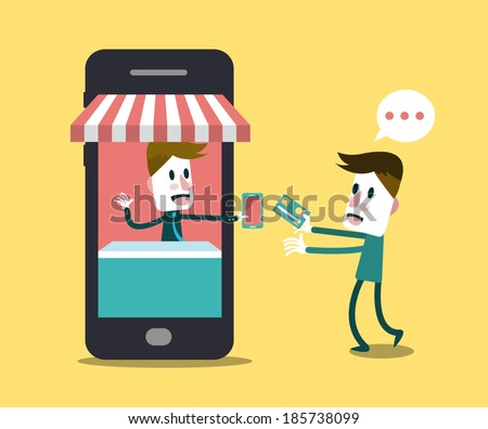 Shopping online, Online Store on smart phone. Business and Digital Marketing Concept. Flat Design. Vector - stock vector