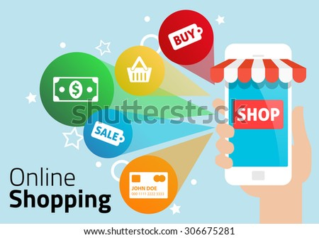 Shopping Online with Mobile Phone - stock vector