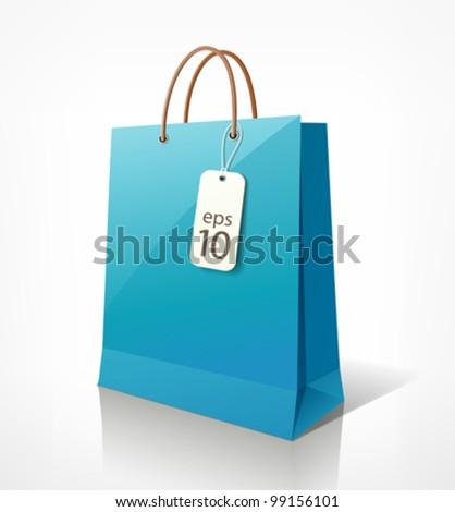 Shopping paper bag blue empty, vector illustration - stock vector
