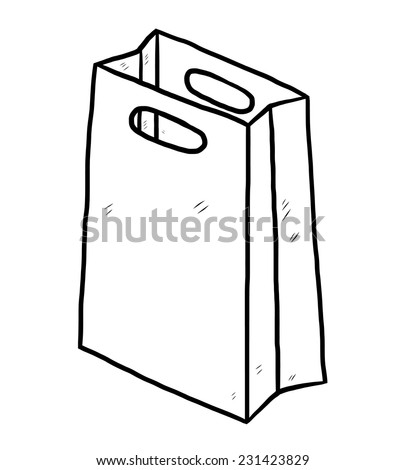 shopping paper bag/ cartoon vector and illustration, black and white, hand drawn, sketch style, isolated on white background. - stock vector
