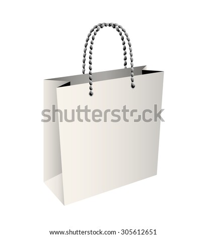 Shopping paper bag. Elegant vector design In white. Isolated.and empty.