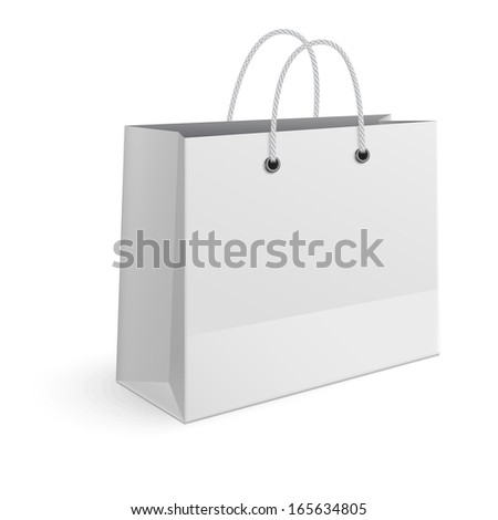Shopping paper bag isolated on white background - stock vector