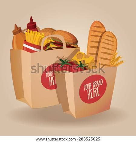 Shopping paper bags with food. Vector illustration
