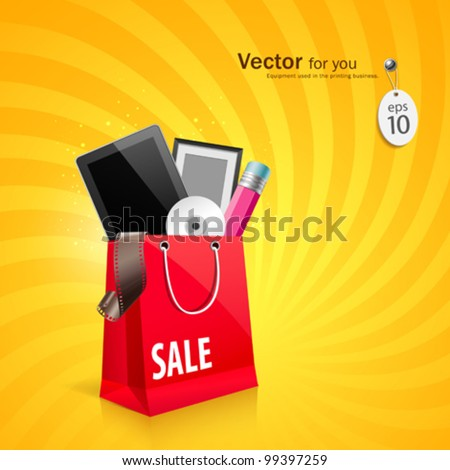 Shopping red bag with, tablet, frame, pencil, cd, film roll in bag, vector illustration - stock vector
