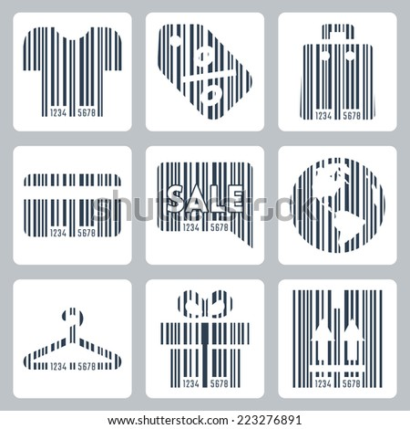 Shopping related concept icons set , barcode style - stock vector