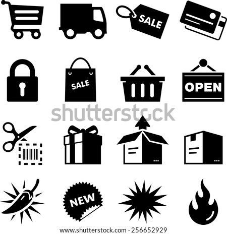 Shopping, retail and e-commerce icon set. Vector icons for digital and print projects. - stock vector