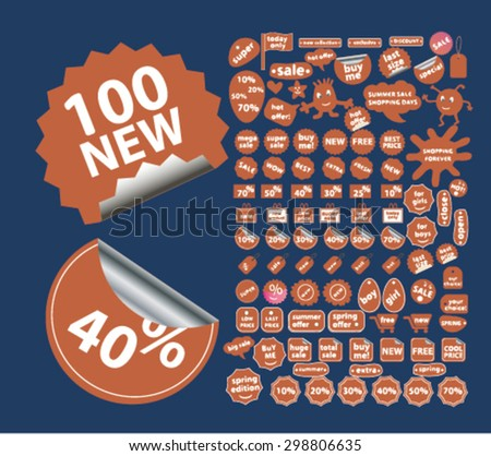 shopping, retail, store, shop, sales stickers, labels, icons, signs, illustrations set, vector - stock vector