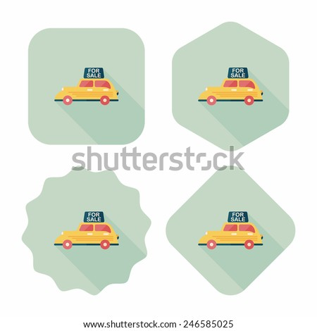 shopping sale car flat icon with long shadow,eps10