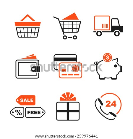 Shopping simple vector icon set - cart, delivery, purse, card, money box, sale, gift, phone