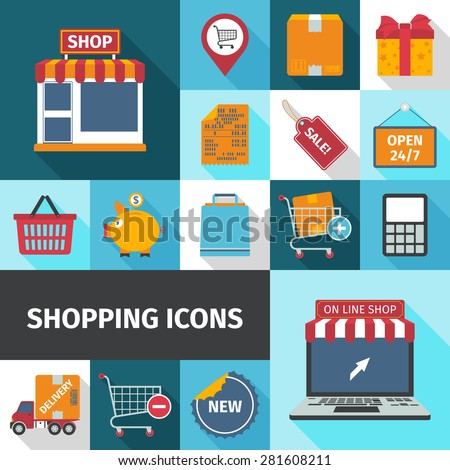 Shopping square cash and online icons set flat shadow isolated vector illustration  - stock vector