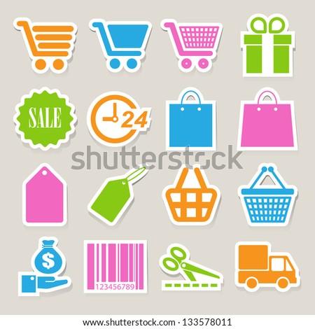 Shopping sticker icons set. Illustration eps 10 - stock vector