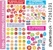 shopping stickers, icons, signs, vector illustration - stock vector