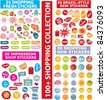 shopping stickers, icons, signs, vector illustration set - stock vector