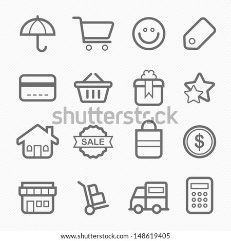 shopping symbol line icon vector illustration on white background - stock vector