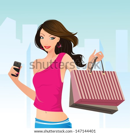 Shopping therapy - stock vector