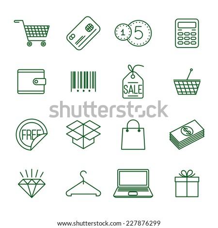 Shopping   thin line vector icon set  - stock vector