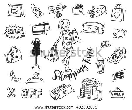 shopping time doodle icon - stock vector
