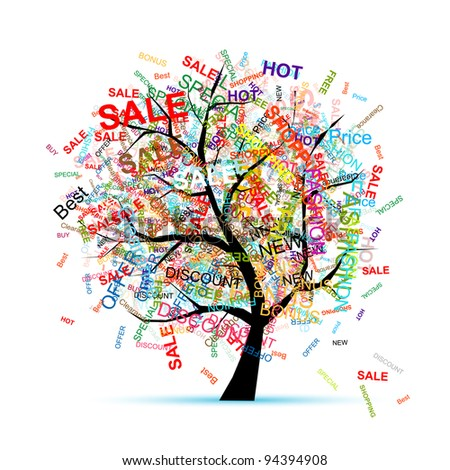 Shopping tree concept for your design - stock vector