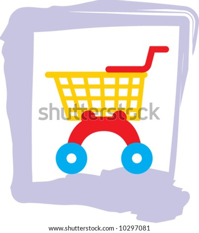 Shopping trolley - stock vector