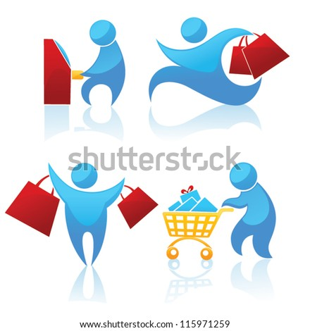 shopping, vector collection of symbols - stock vector