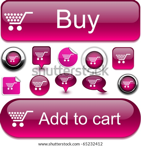 Shopping vector glossy icons. - stock vector