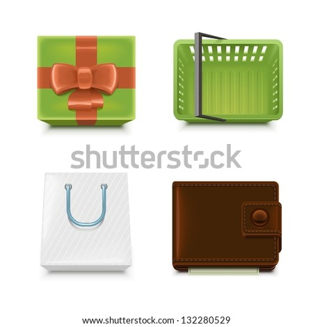 shopping vector icon set - stock vector