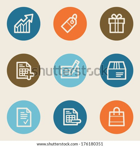 Shopping web icon set 1 , color circle buttons - stock vector