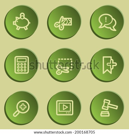 Shopping web icon set 3 , green paper stickers set - stock vector
