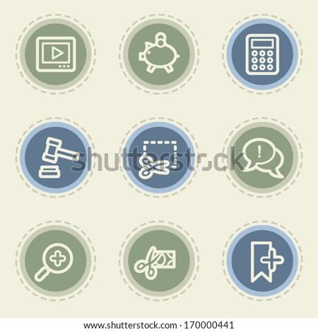 Shopping web icon set 3, vintage buttons - stock vector