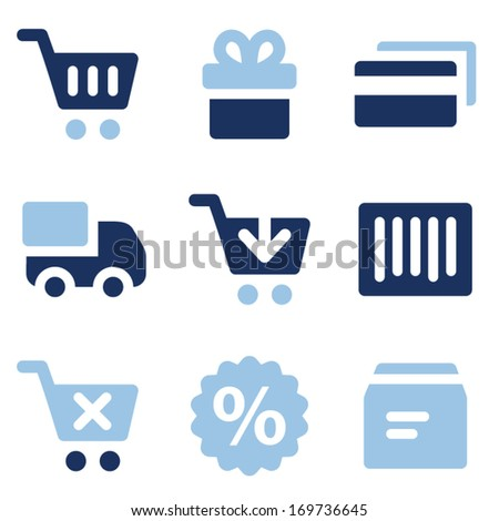 Shopping web icons, blue set - stock vector