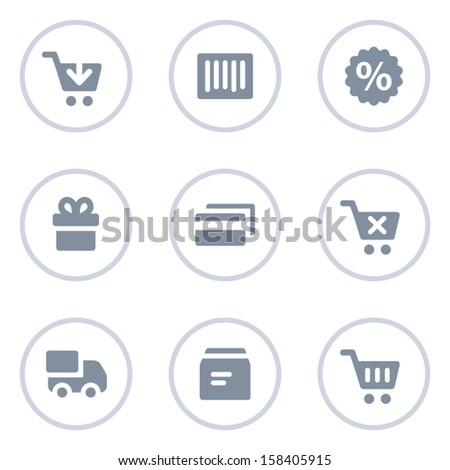 Shopping web icons, circle line series - stock vector