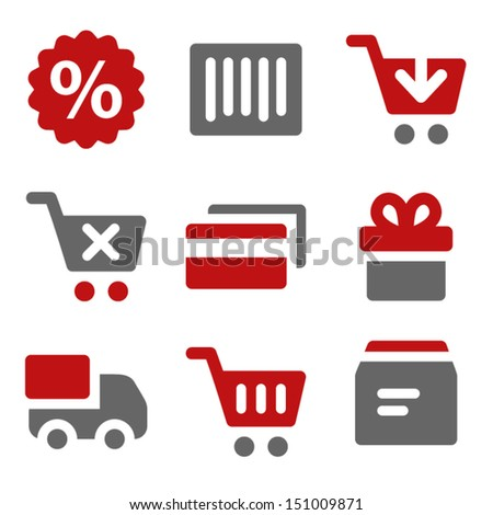 Shopping web icons, dark red and grey - stock vector