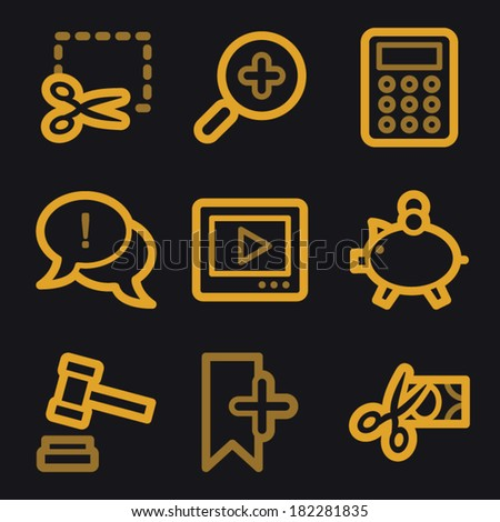 Shopping web icons, gold line set - stock vector