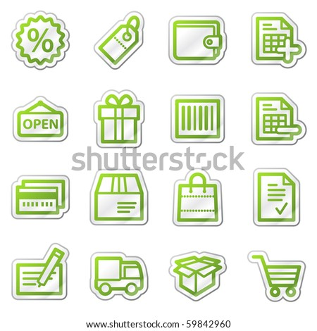 Shopping web icons, green contour sticker series