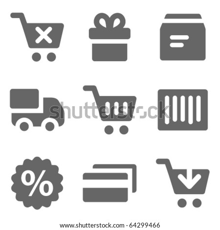 Shopping web icons, grey solid series - stock vector