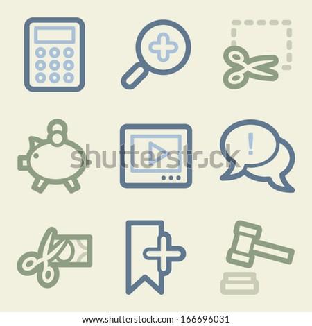 Shopping web icons, money color set - stock vector