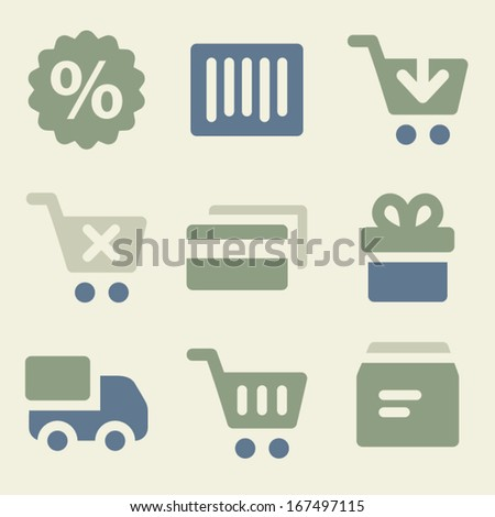 Shopping web icons money color set - stock vector
