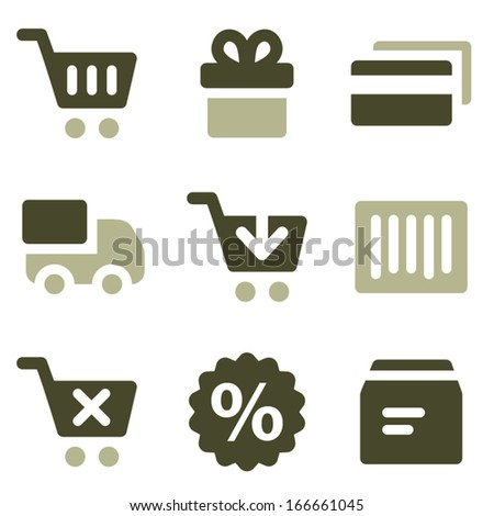 Shopping web icons, olive set - stock vector