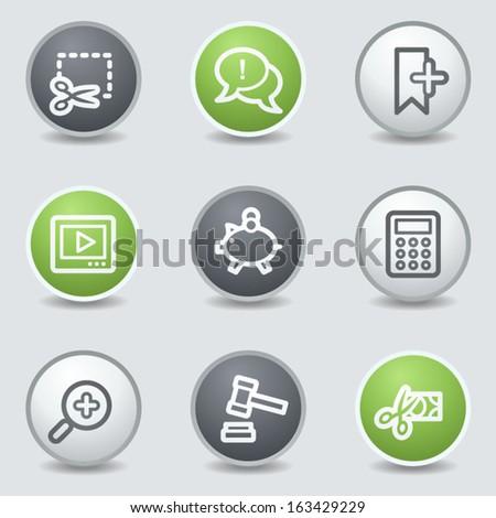 Shopping web icons set 3, circle buttons - stock vector