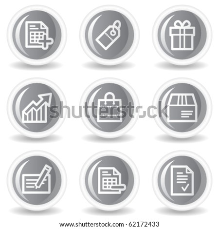 Shopping web icons set 1, circle grey glossy buttons - stock vector